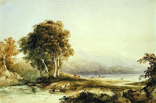 Mountainous Landscape with Lake and Stream