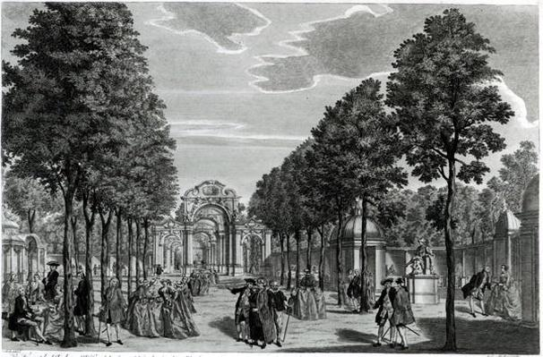 The Triumphal Arches, Handel's Statue in the South Walk of Vauxhall Gardens, engraved by John S. Muller