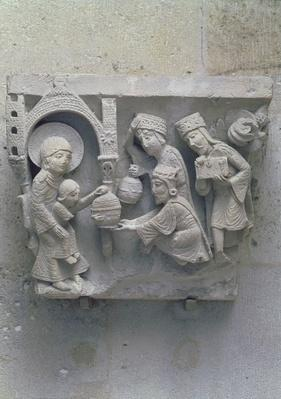The Adoration of the Magi, original capital from the cathedral nave