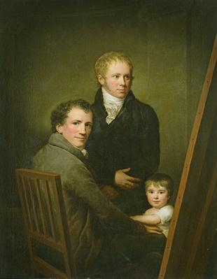 Self portrait with the Foster Daughter Lina Groger and the painter Heinrich Jakob Aldenrath, c.1801-15