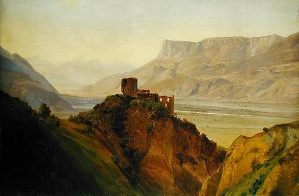 Die Ruine Brunnenburg mit dem Etschtal, 1838