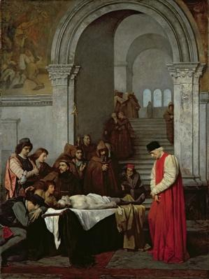 The Painter Luca Signorelli standing by the body of his rival's dead son, 1859