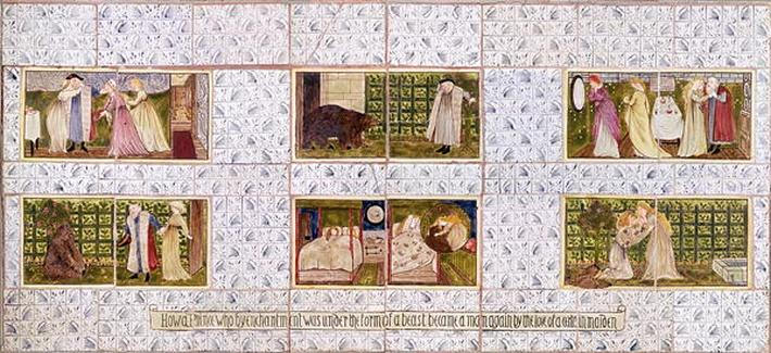 Panel of Tiles depicting the story of Beauty and the Beast from Birket Foster's house at Witley, Surrey, c.1862