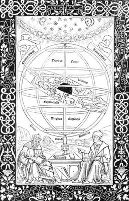 Ptolemy's System, illustration from 'Science and Literature of the Middle Ages and the Renaissance', written and engraved by Paul Lacroix, 1878