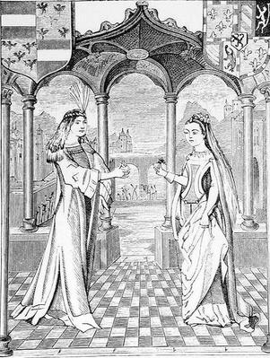 A Betrothal Interview, illustration from 'Science and Literature in the Middle Ages and the Renaissance', written and engraved by Paul Lacroix, 1878