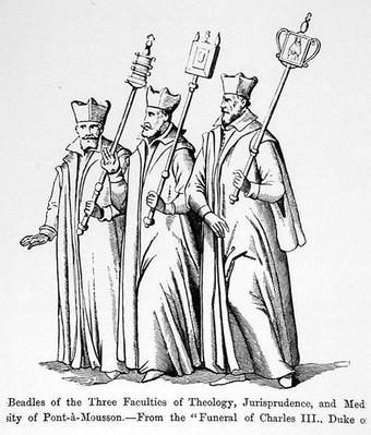 Beadles of the Three Faculties of Theology, Jurisprudence and Medicine, from 'The Funeral of Charles III