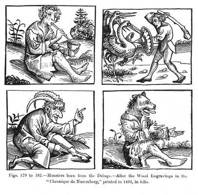Monsters born from the Deluge, after the wood engravings in the 'Chronique de Nuremberg'