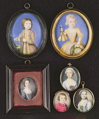 Portrait Miniatures. L to R and T to B: Richard Whitmore by Bernard Lens