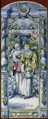 Spring, from a series of tile panels, designed by Sir Edward Poynter and made by Minton, Campbell and Company, for the Dutch Kitchen, 1867-8