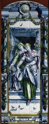Winter, from a series of tile panels, designed by Sir Edward Poynter and made by Minton, Campbell and Company, for the Dutch Kitchen, 1867-8