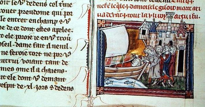 Add 10294 f.65v Death of the Maid of Astolat, from 'La Mort le Roi Artus', c.1316