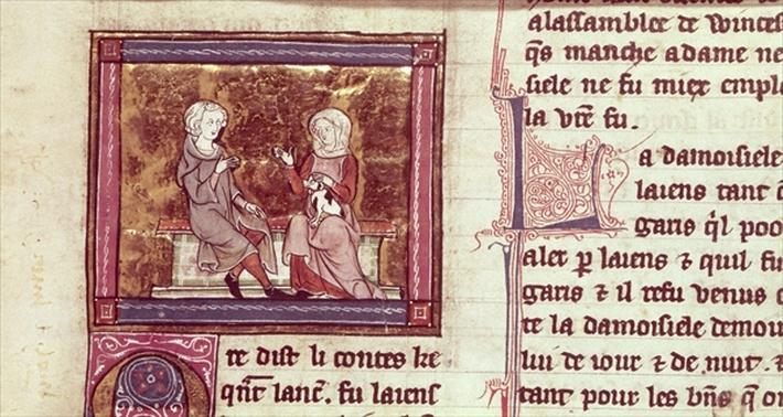 Ms Roy 14E III f.146 Lancelot and Guinevere sit and talk, from 'Lancelot du Lac'