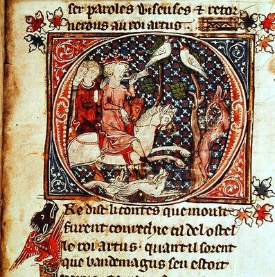 Ms Add 38117 fol.193 King Arthur Hunting, from the 'Romance of Merlin', c.1300-25
