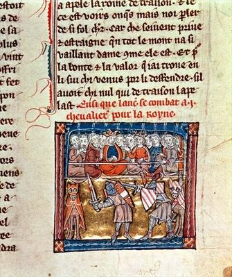 Ms Add 10294 f.68r King Arthur and Guinevere watching a tournament, illustration from the 'Roman du Saint Graal', c.1316
