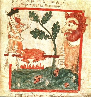 Eg 3028 f.49 Arthur meets the giant roasting a pig on a spit, from the Verse Chronicle of 'Roman de Brut'