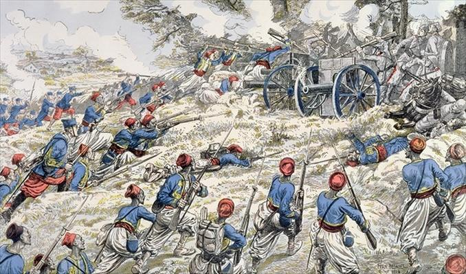 Algerian riflemen of the French army attacking German guns during the Battle of the Marne in 1918