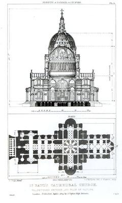 Cross section of St. Paul's Cathedral and plan of the vaults, engraved by C. J. Mathews and G. Gladwin, published in 1823