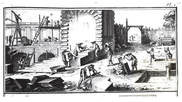Stonemasons at work, engraved by Lucotte