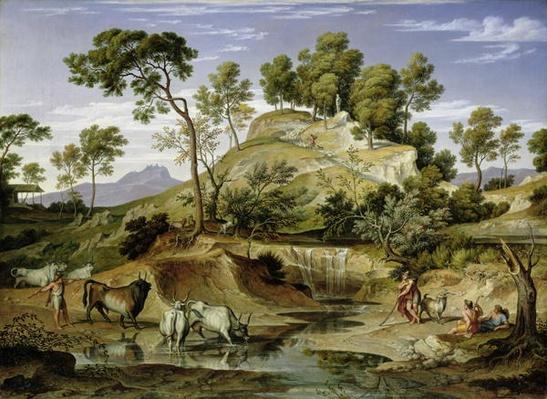 Landscape with Shepherds and Cows and at the Spring, 1832-34