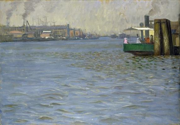 Sunday Atmosphere on the Elbe, St. Paul Landing Bridge, 1901