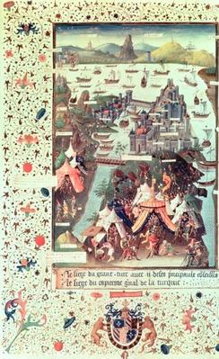 Ms Fr 9087 f.207v The Siege of Constantinople in 1453, from 'Le Voyage d'Outremer' by Bertrandon de la Broquiere, c.1450-75