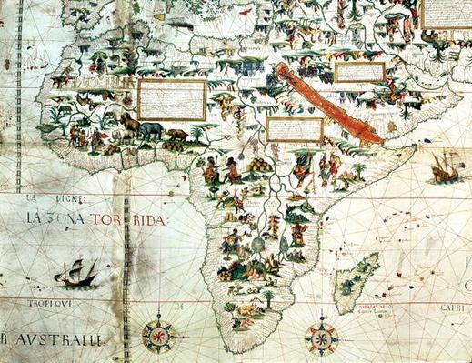 Add 24065: Detail of a map of the world showing Africa, 1550