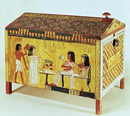 Painted chest with a banquet scene from the tomb of Kha