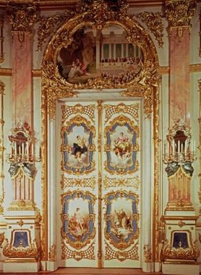 Door of the Porcelain Room with four panels depicting classical scenes by Meissen and one depicting a theatrical production