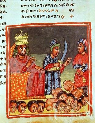 Manuscript depicting a king presiding over executions