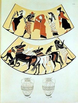Designs from an Etruscan vase depicting a procession of priests and marking out a new city's limits using an ox-drawn plough