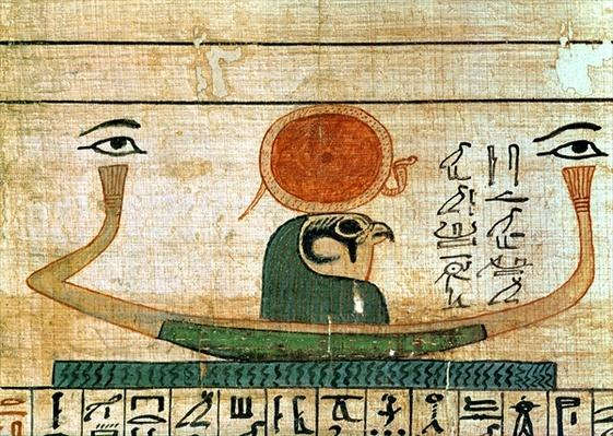 Egyptian funerary papyrus depicting the barque of Re-Herakhty