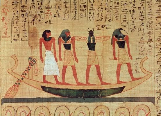 Papyrus depicting a man being transported on a barque to the afterlife by Thoth, Khepri and another god