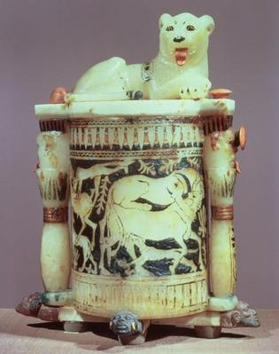 Unguent jar with a figure of a the king as a lion, from the tomb of Tutankhamun