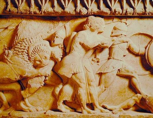 Detail of the north frieze of the Siphnian Treasury depicting gods fighting giants, c.525 BC