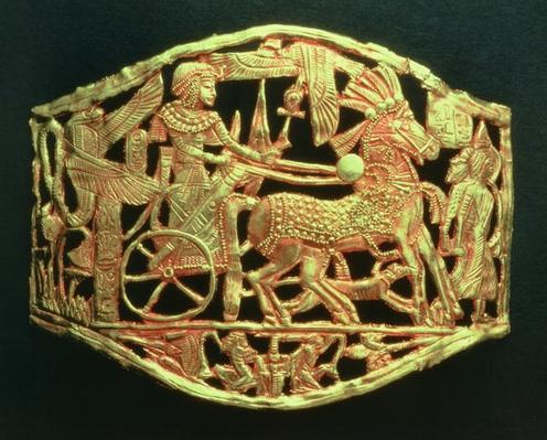 Openwork plaque or buckle showing the king's triumphal return with prisoners, from the tomb of Tutankhamun