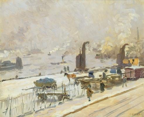 Hamburg Port in Winter, 1909
