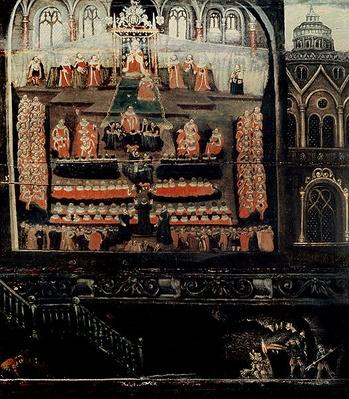 Right hand side of Diptych showing the Parliament of James I of England, VI of Scotland