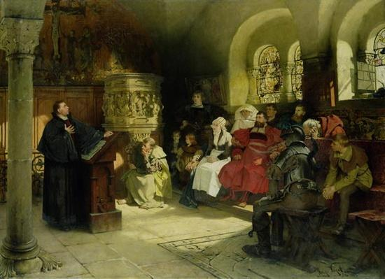 Luther Preaches using his Bible Translation while Imprisoned at Wartburg, 1882