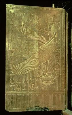 The goddess Isis from the inside of one of the double doors of the third gilded shrine, from the tomb of Tutankhamun
