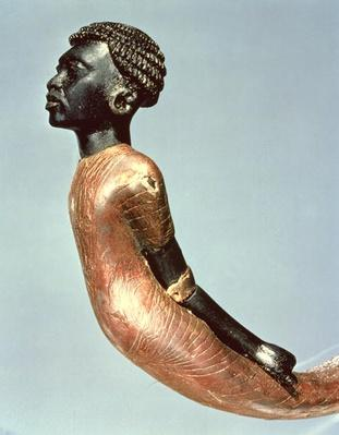 Figure of an African man from the end of a ceremonial cane, from the tomb of Tutankhamun