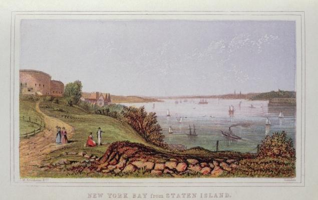 New York Bay from Staten Island, engraved by M. Kronheim and Co., London