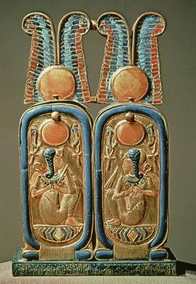Unguent box in the form of a double royal cartouche, from the tomb of Tutankhamun