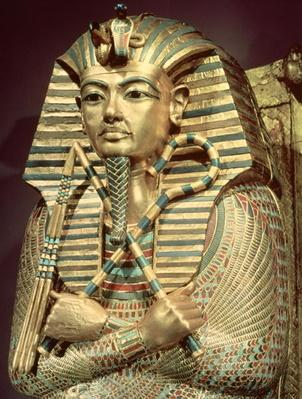 Detail of the second mummiform coffin of Tutankhamun