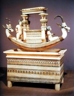 Chest with a boat decorated with two heads of a Syrian ibex and two female figures thought to be Princess Mutnedjmet, from the tomb of Tutankhamun
