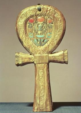 Mirror case in the form of an ankh, from the tomb of Tutankhamun
