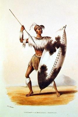 Lingap, a Matabili Warrior, illustration from 'Wild Sports of South Africa' by W.C. Harris, 1841