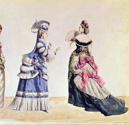 Fashion designs for women from the 1860's