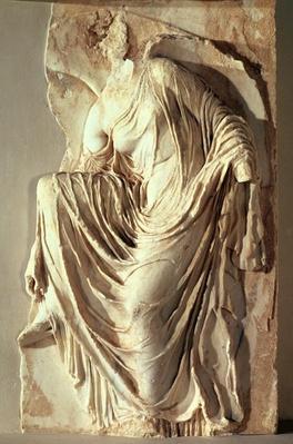 Athena Nike adjusting her sandal, c.420-420 BC