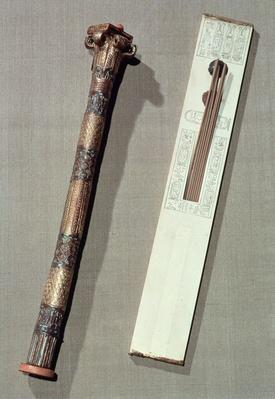 Scribe's palette and a case for writing reeds, from the tomb of Tutankhamun