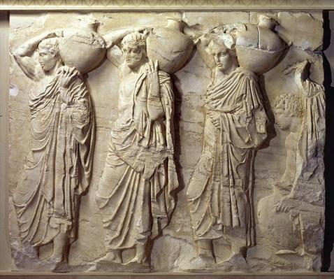 Relief depicting hydria carriers from the North Frieze of the Parthenon, c.447-432 BC